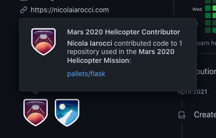The Mars Helicopter Contributor badge
