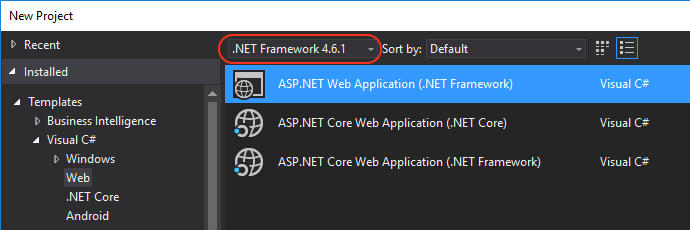 New VS project with .NET 4.6 or above